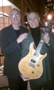 Paul Reed Smith checking out one of my guitars outside an event we were at in NYC