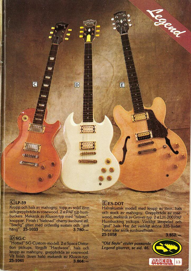 Bacchus Guitar catalog page LP-59 SG-C ES-DOT